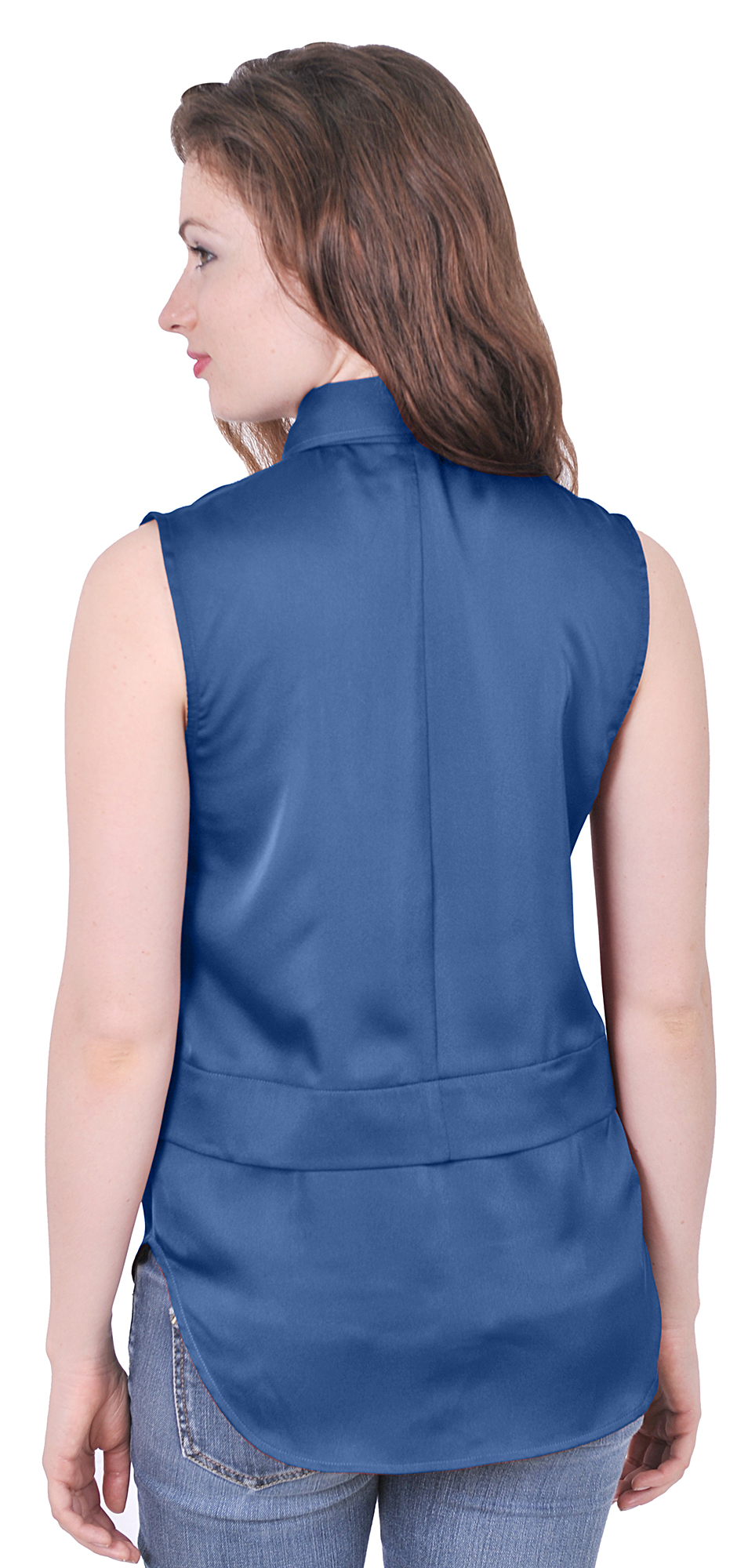 Womens easy care sleeveless button down collared suiting for Where to buy womens button up shirts