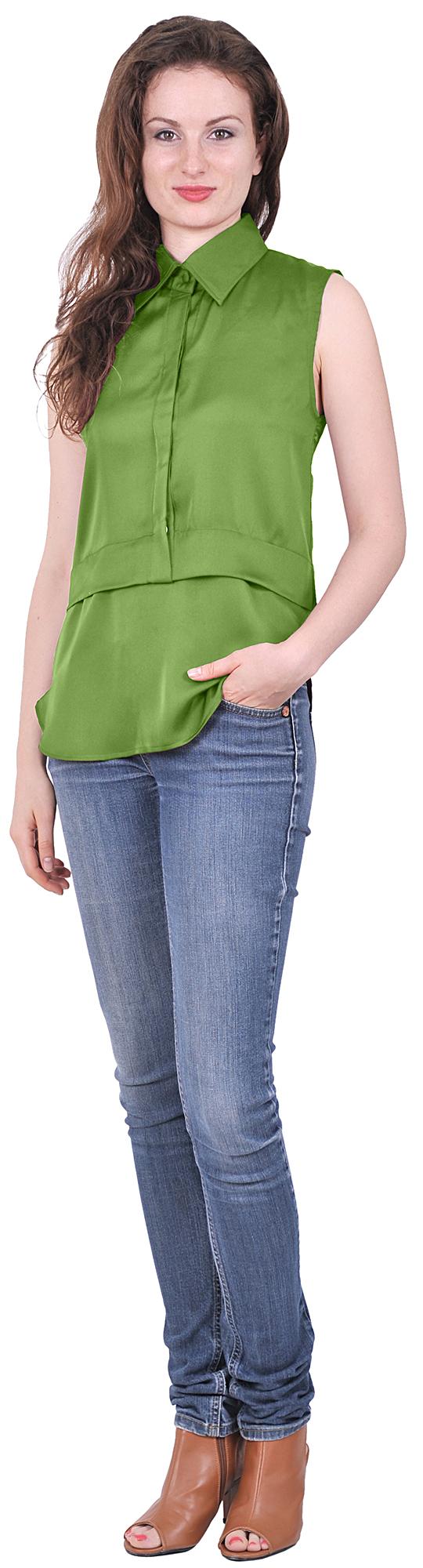 Sleeveless Denim Shirt Womens