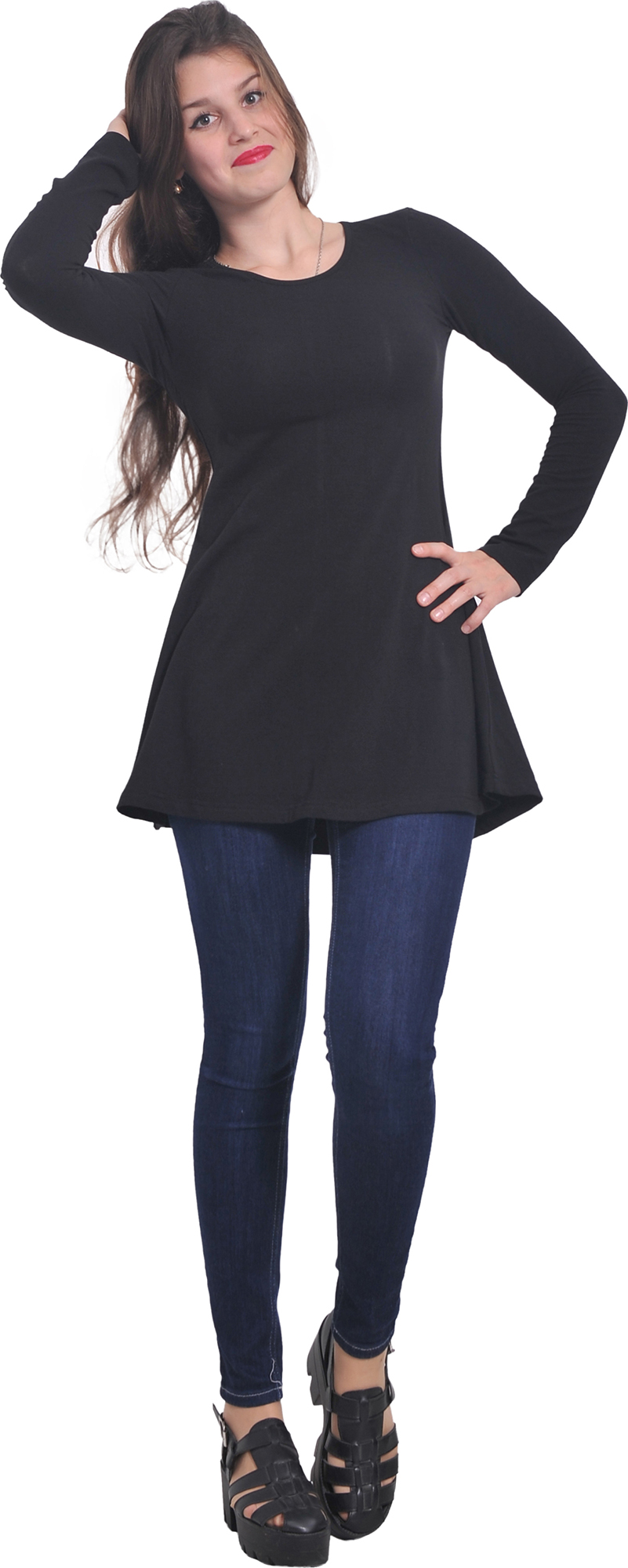 MARYCRAFTS WOMENS JERSEY LOOSE FIT FLARED T SHIRT LONG SLEEVE ...