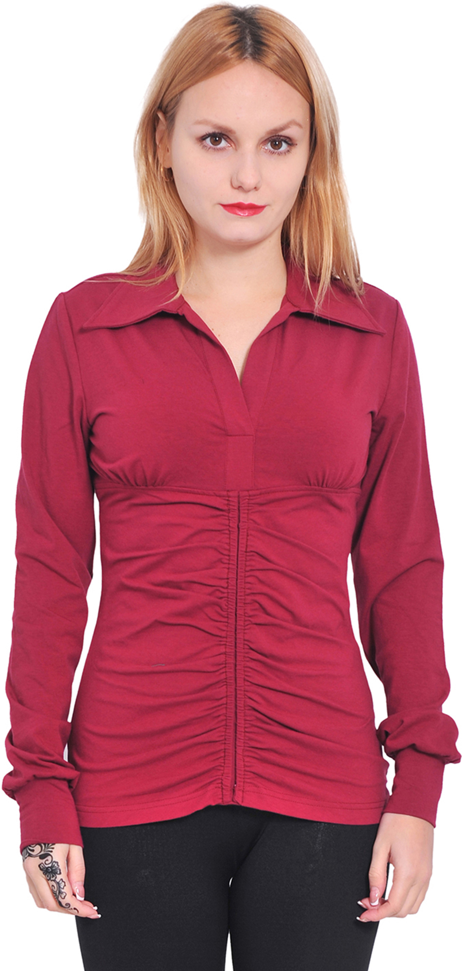 Marycrafts Womens Long Sleeve V Neck Collared Polo Shirt