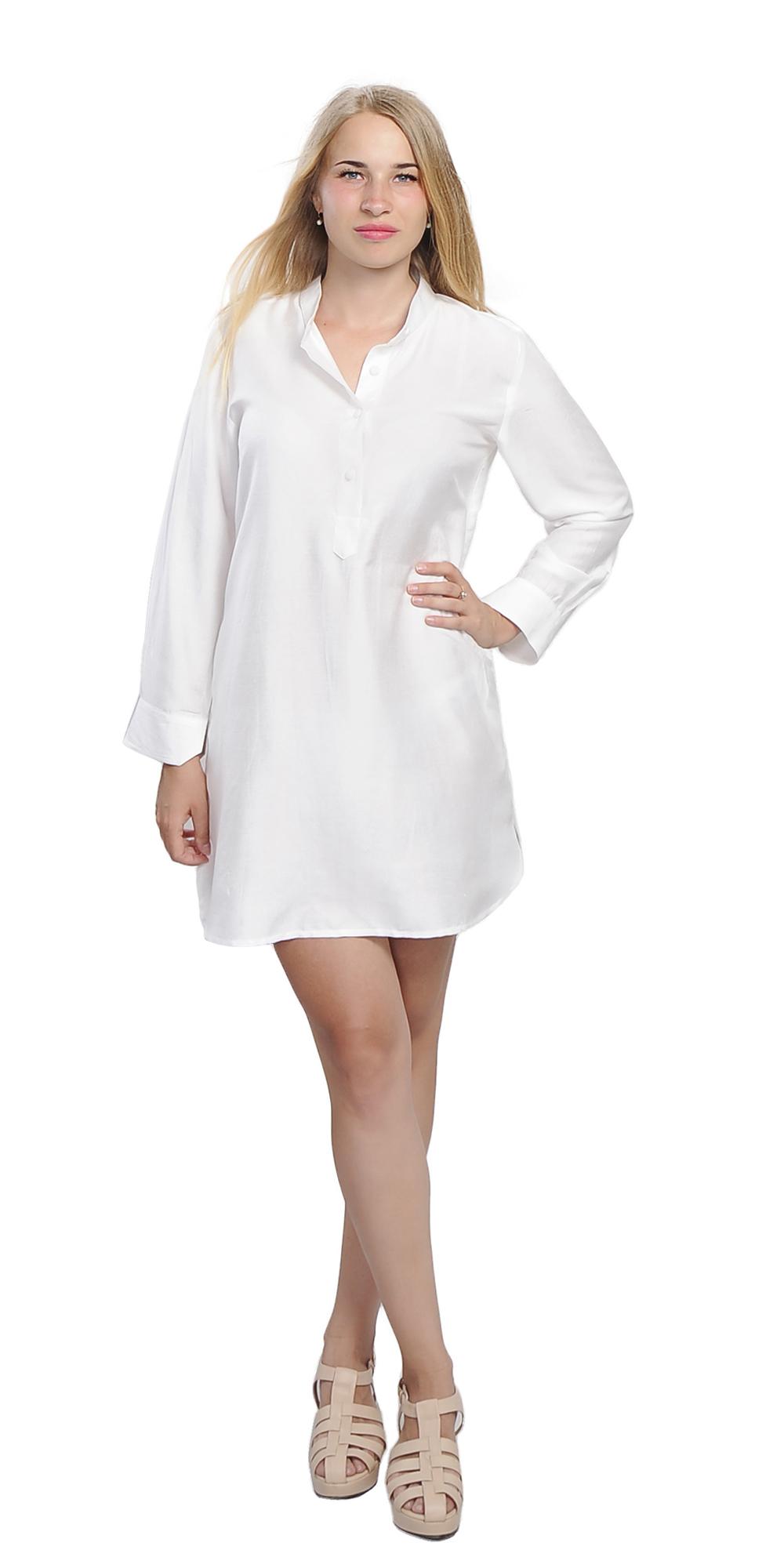 Marycrafts silk cotton long sleeve boyfriend tunic shirt for Long sleeve silk shirt dress
