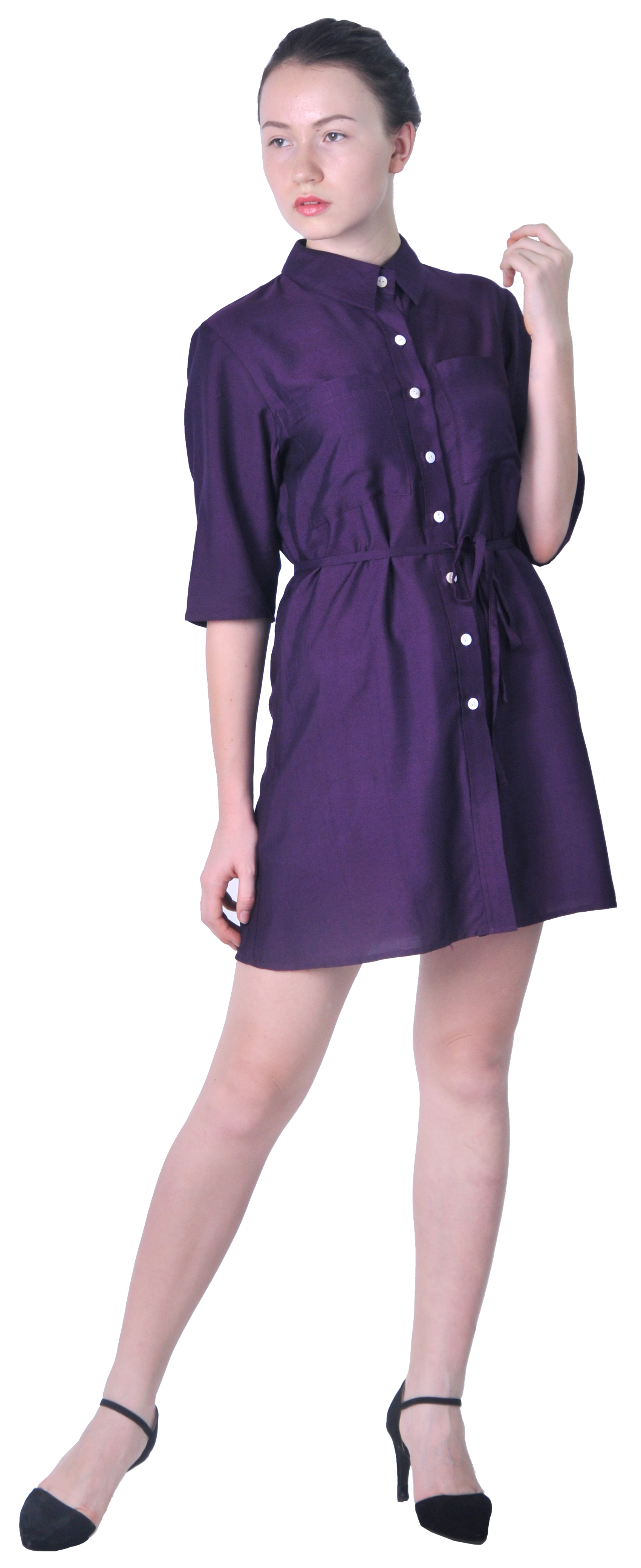 Cool  Day Dresses Gt Women39s Solid Color Button Down Stand Collar Shirt D