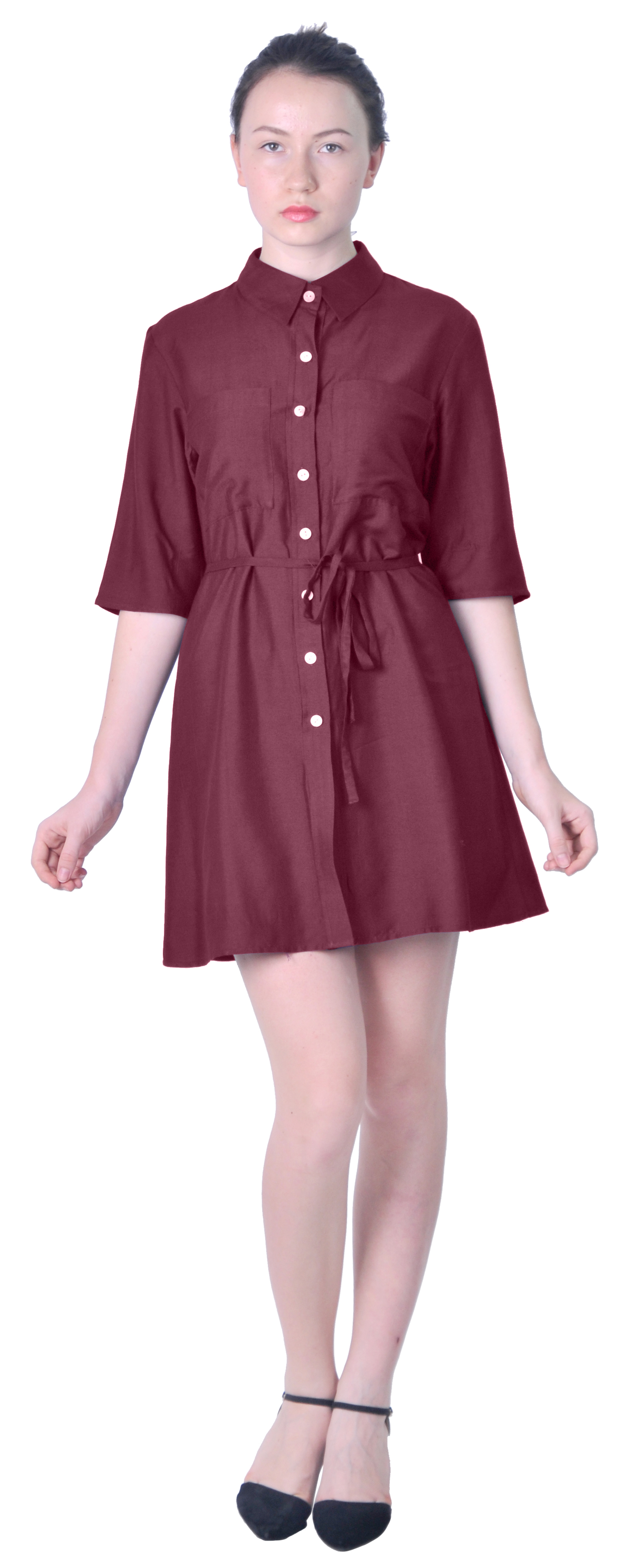 Mary crafts womens casual office shirtdress collared for Women s button down dress shirts
