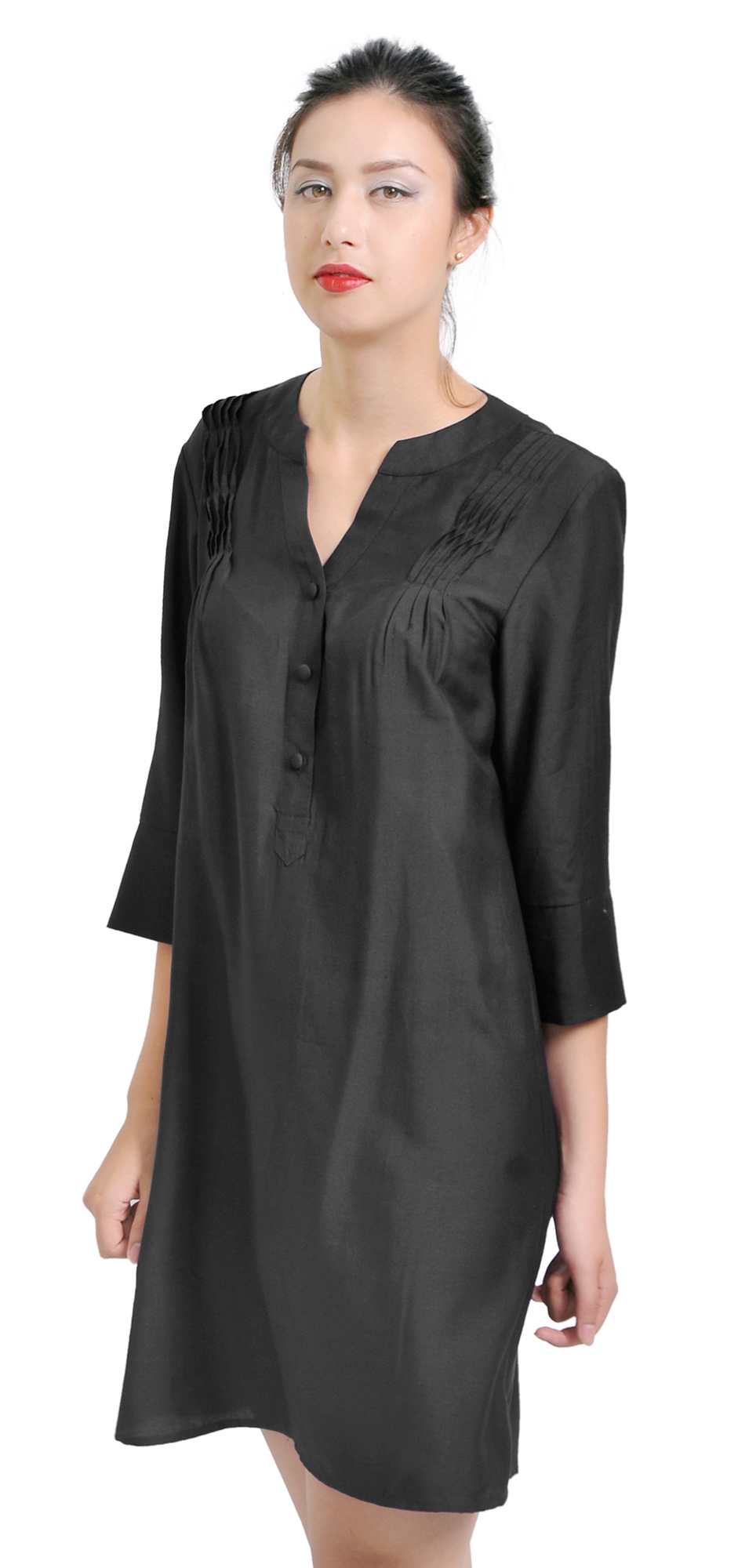 Mary crafts womens casual silk cotton tunic dress blouse for Is a tunic a dress or a shirt