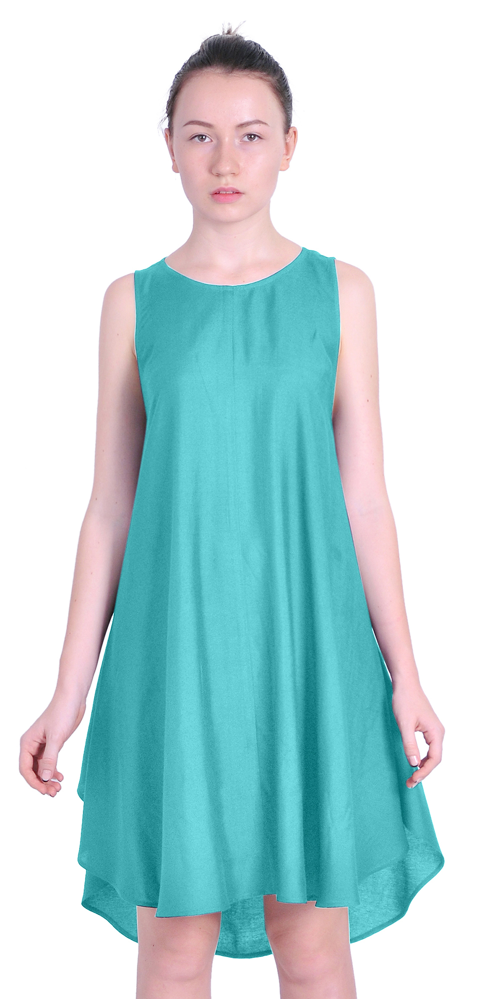WOMENS CASUAL SUMMER TRAPEZE DRESSES LOOSE FIT SLEEVELESS ...