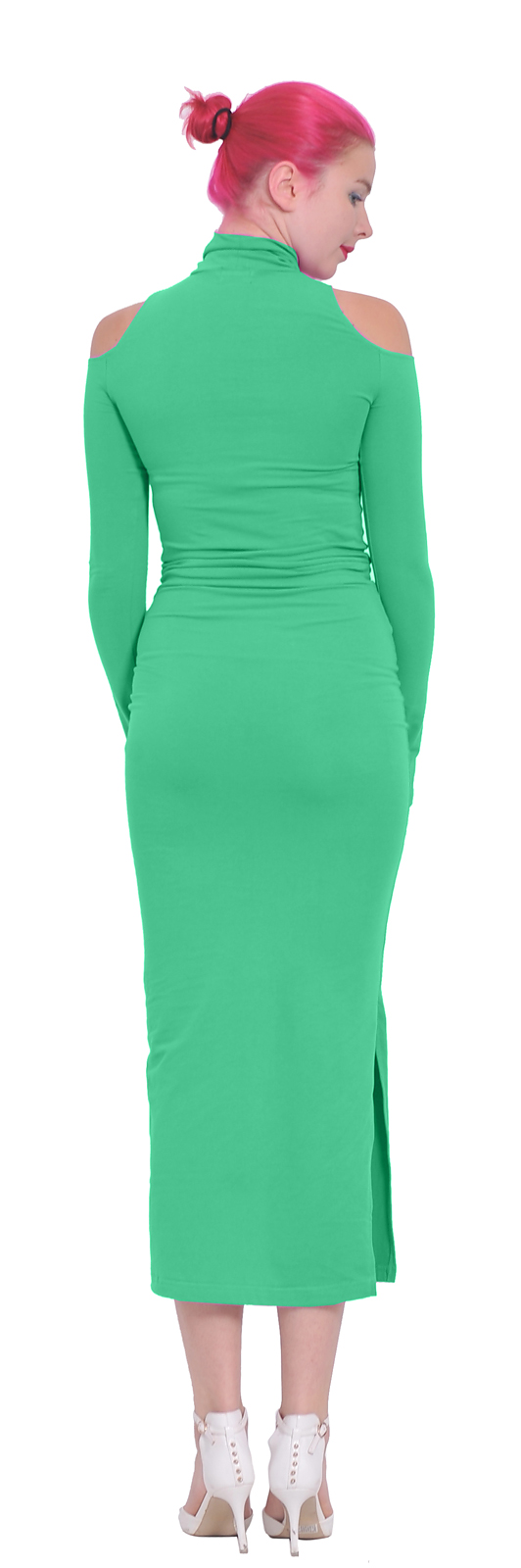 WOMENS COLD SHOULDER TURTLENECK MAXI BODYCON LONG SLEEVE COCKTAIL ...