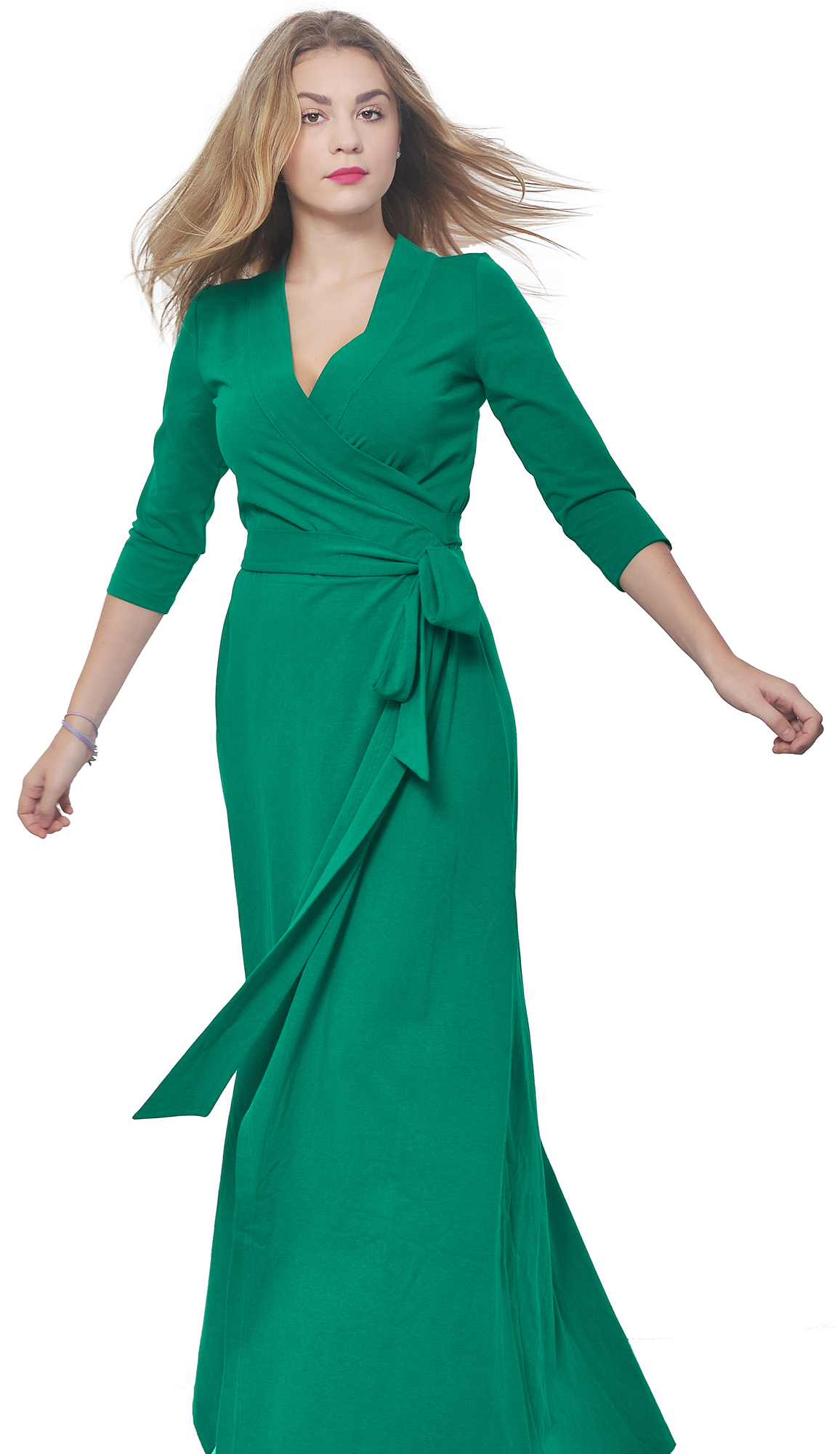 WOMENS LONG SLEEVE MAXI FULL LENGTH WRAP CROSSOVER DRESS PARTY ...