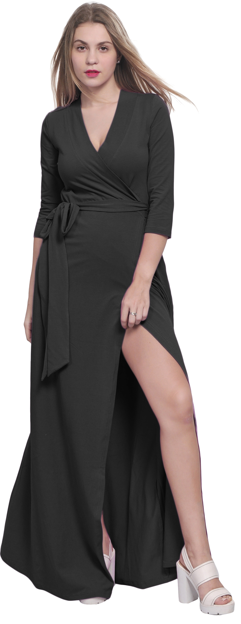 MAXI FULL LENGTH WRAP DRESS LONG SLEEVE CROSSOVER DRESSES CASUAL ...