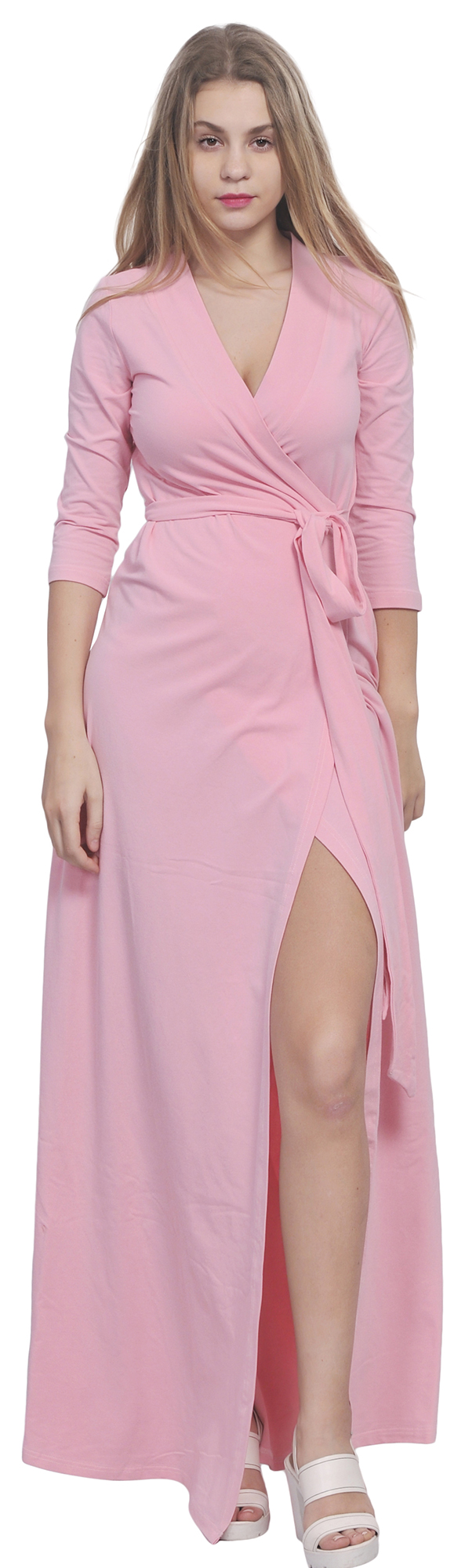 Maxi Full Length Wrap Dress Long Sleeve Crossover Dresses Casual