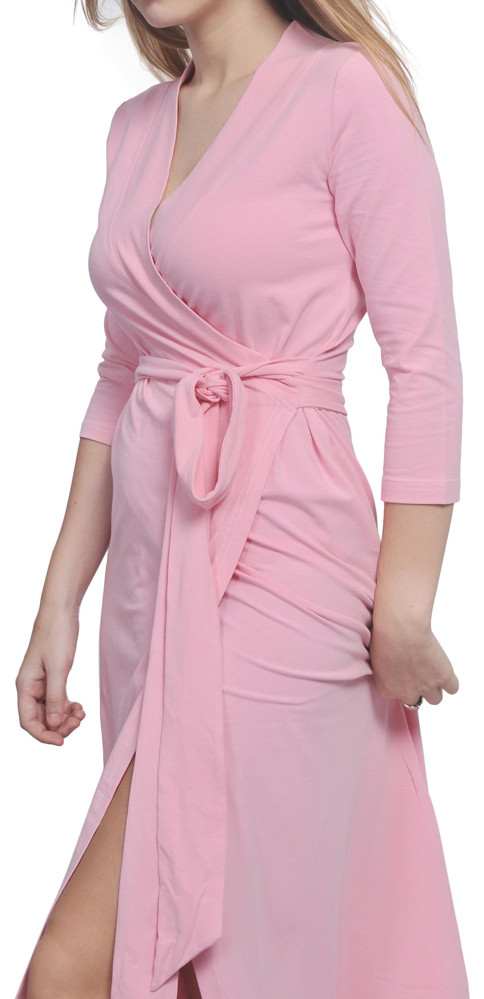 MAXI FULL LENGTH WRAP DRESS LONG SLEEVE CROSSOVER DRESSES CASUAL ...
