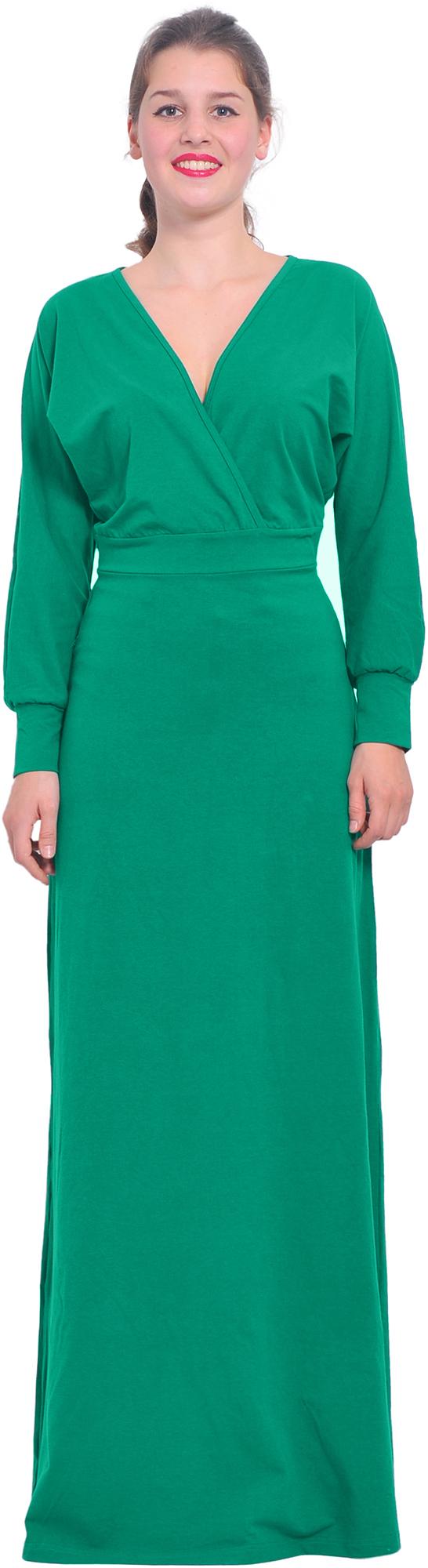 Long sleeve green maxi wrap dress