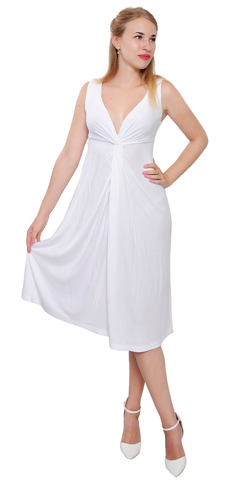 womens sleeveless vneck draped midi cocktail dresses