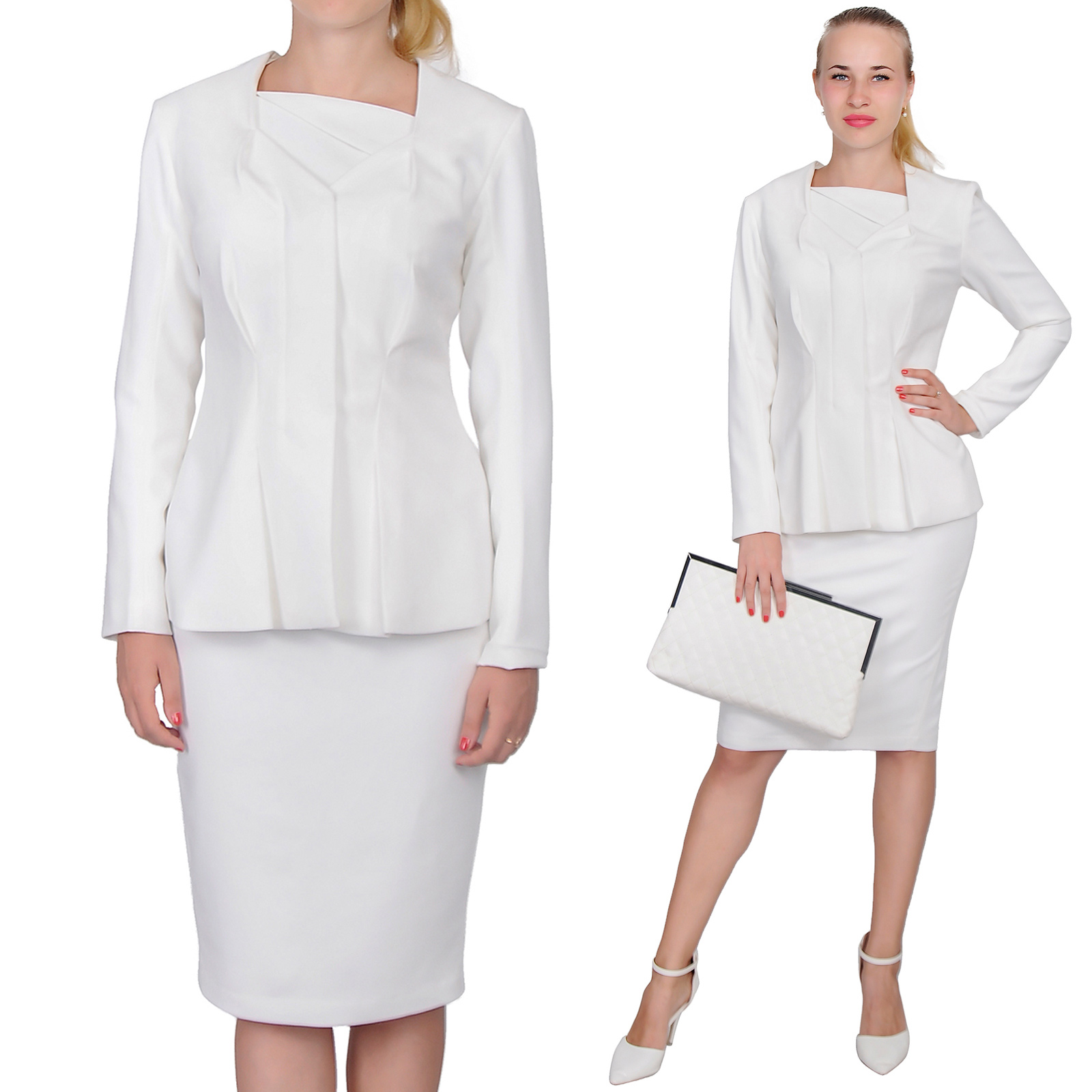 WOMENS WEAR TO WORK CLASSY ELEGANT LADY MIDI DRESS SUIT 4 CHURCH ...