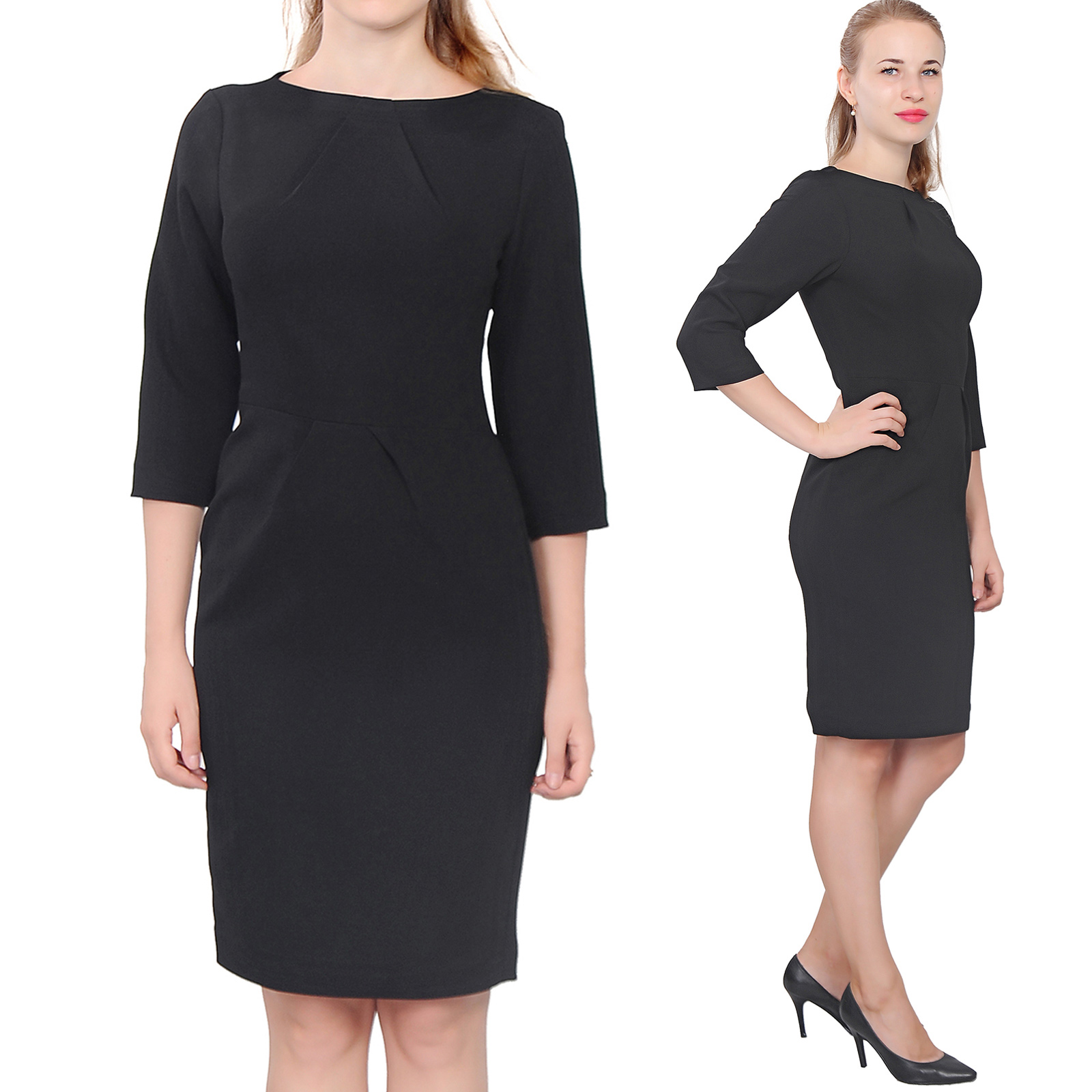 31235919612 WOMENS ELEGANT CLASSY WORK DRESS OFFICE BUSINESS LONG SLEEVE KNEE ...