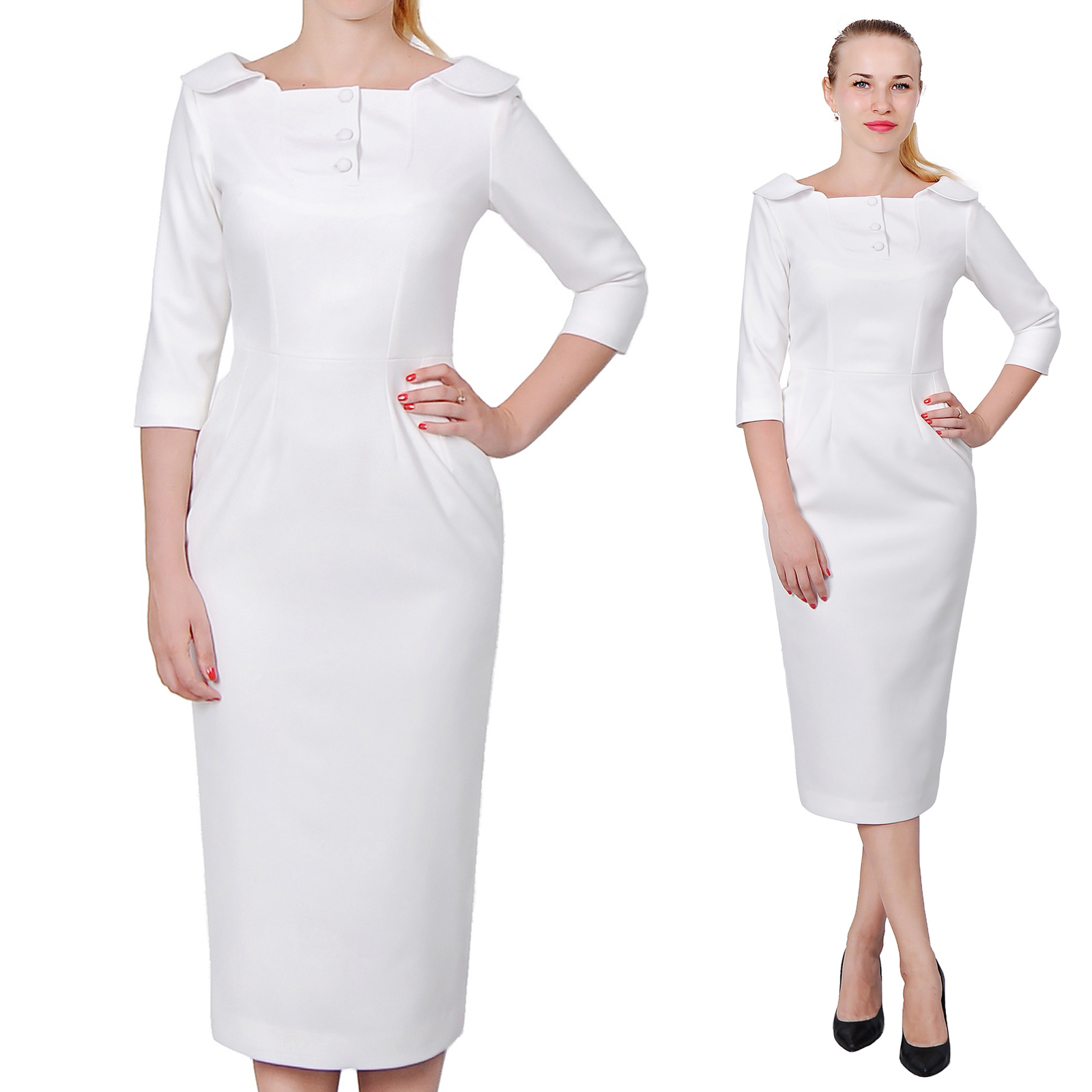 Womens Elegant Cly Work Office Dress Vintage Long