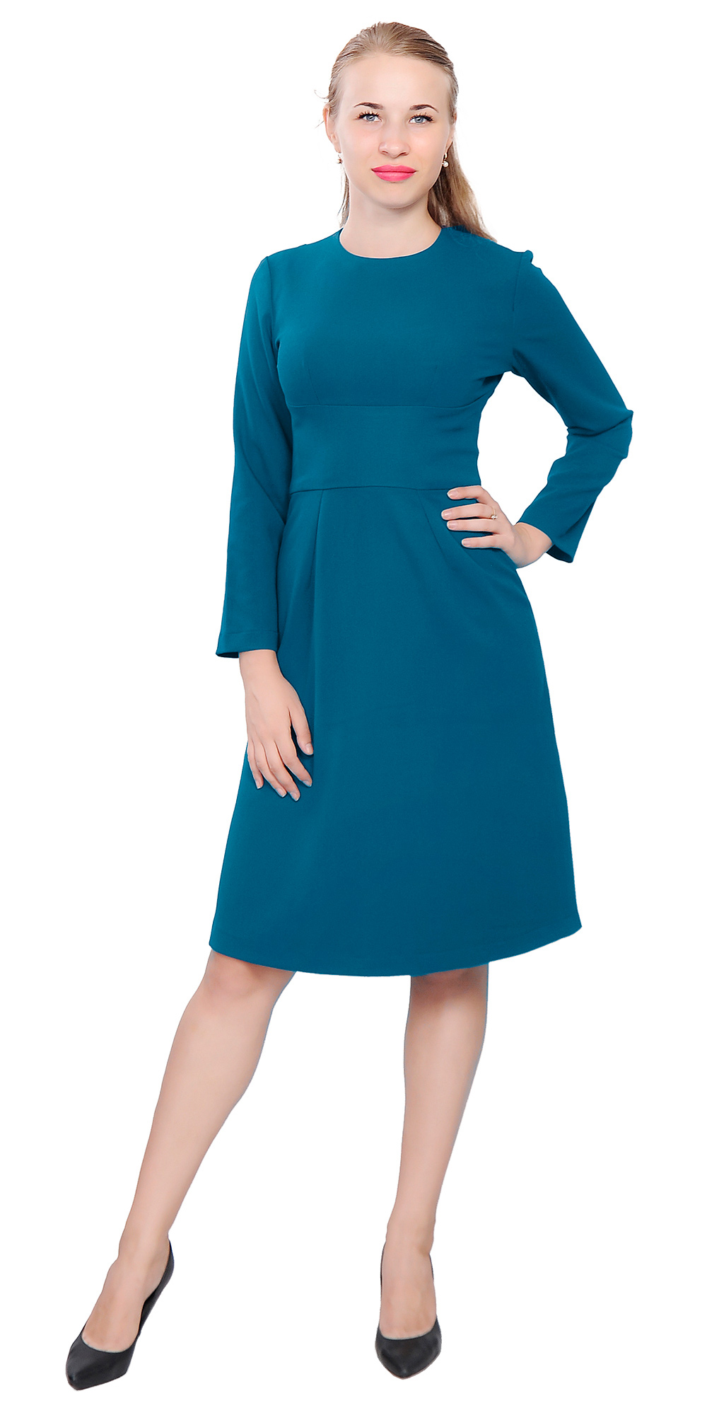 Luxury Blue Work Dress Office Attire Knee Length Short Sleeves Sexy Elegant Versatile Cocktail Day To ...