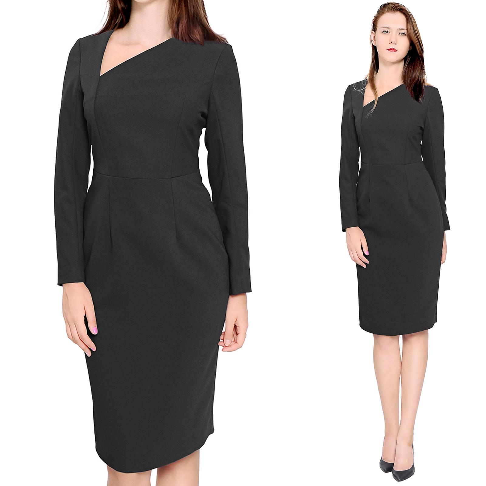 Black dress office - Elegant Sheath Midi Dress Asymmetrical Neckline Pencil Dresses