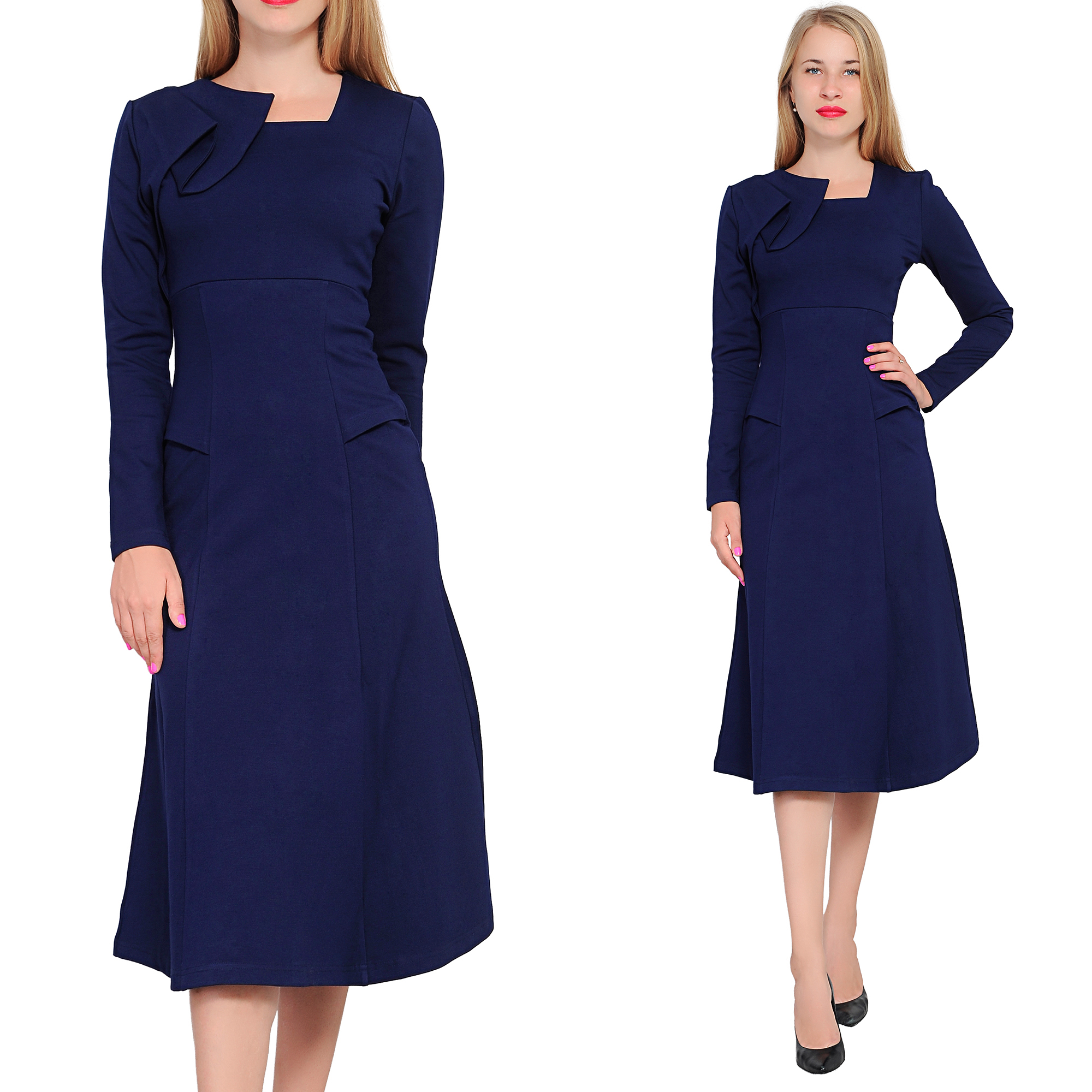 DARK BLUE MARYCRAFTS WOMENS ELEGANT A LINE MIDI EVENING COCKTAIL TEA ...