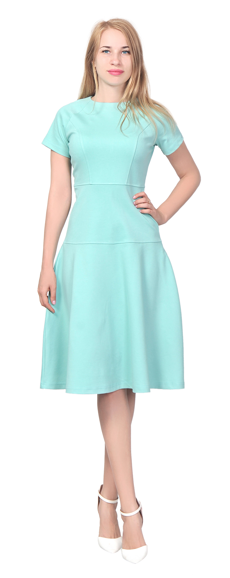 WOMENS ELEGANT CASUAL WORK OFFICE KNEE LENGTH DRESS SHORT SLEEVE ...