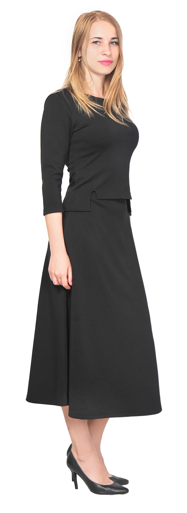 WOMEN'S TOP SHIRT A LINE MIDI SKIRT SUIT SET CASUAL OFFICE ...