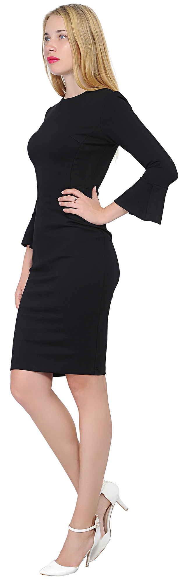 Details about MARYCRAFTS WOMENS FLOUNCE FLARE SLEEVE PENCIL DRESS COCKTAIL FITTED DRESSES
