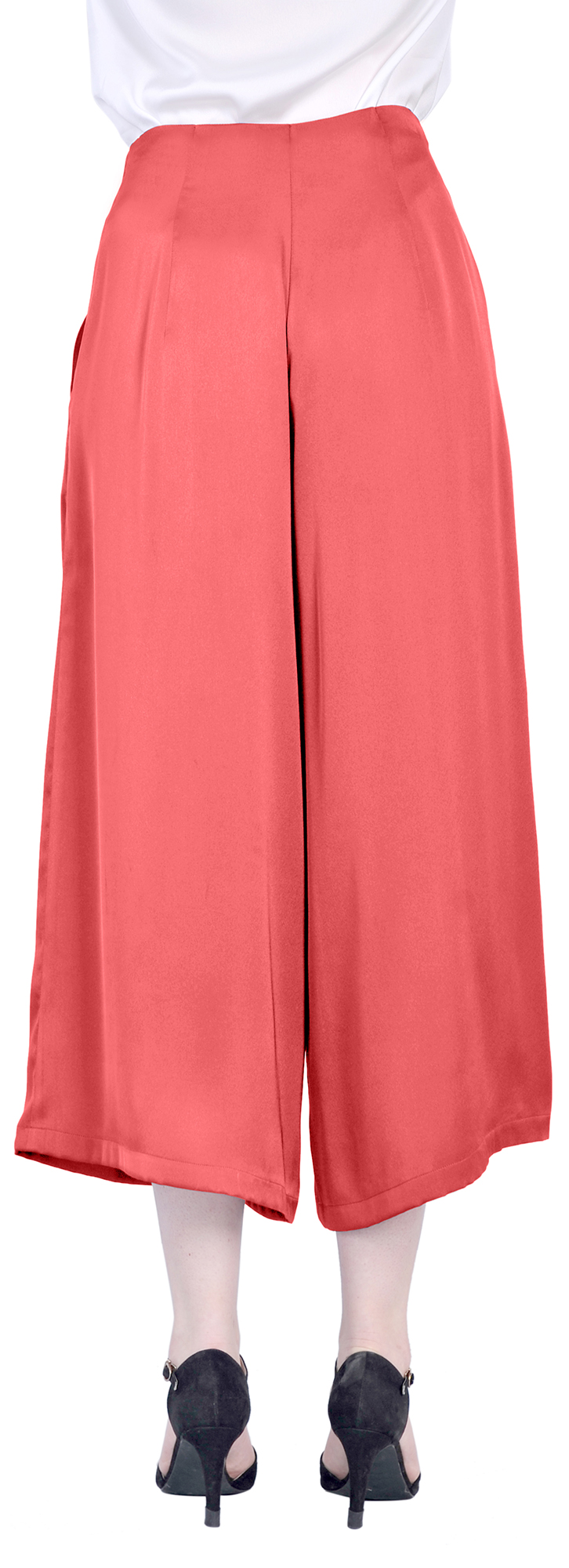 WOMENS SILKY SUMMER CROPPED WIDE LEG CULOTTE GAUCHO PANTS CULOTTES ...