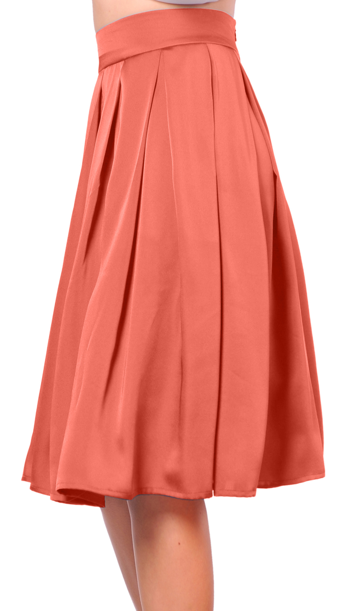 Elegant Women Ladies ALine High Waist Knee Length Short Dress Pleated Plain