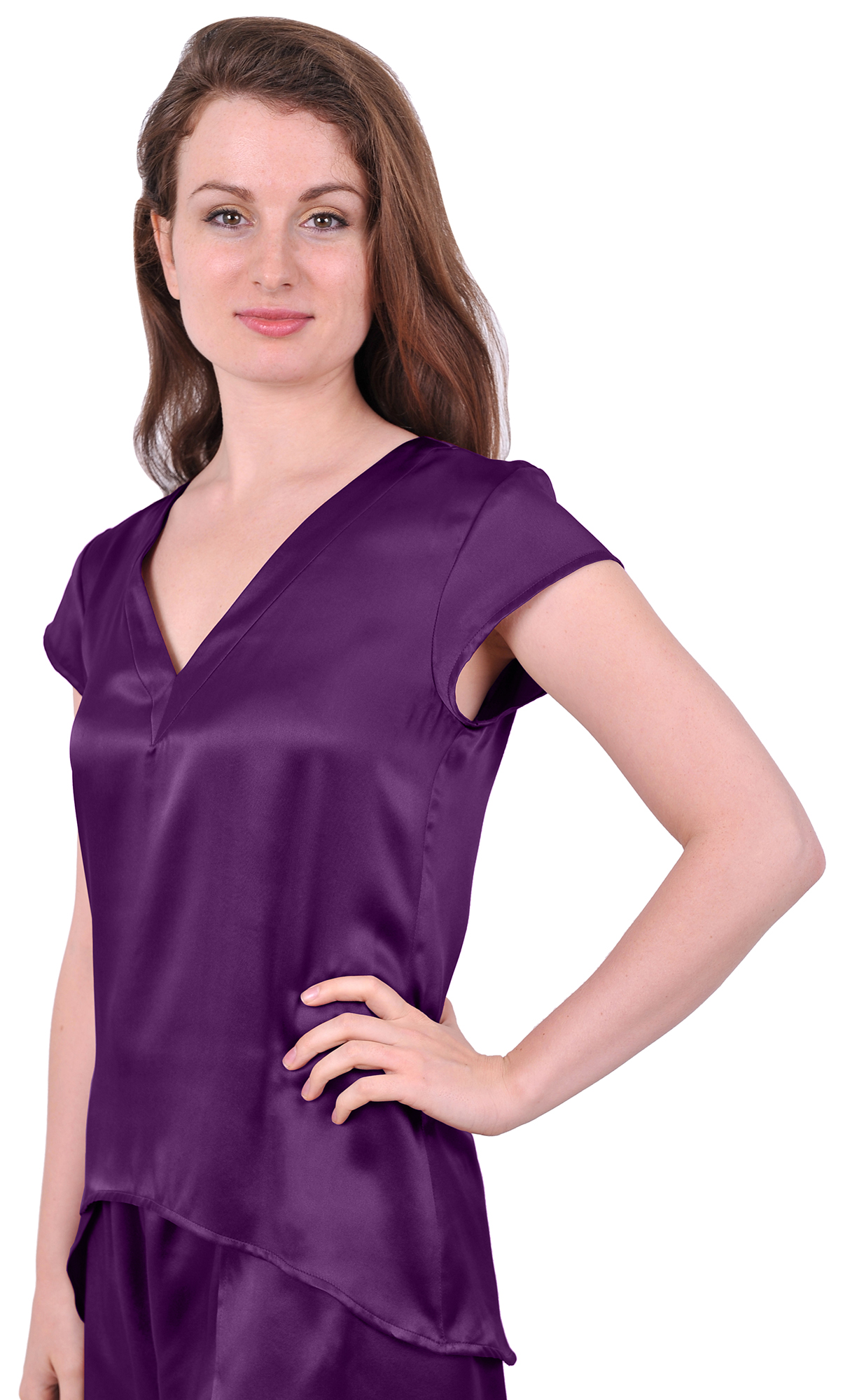 NEW WOMENS PURE SILK BLOUSE T SHIRT SUITING TOP CAP SLEEVES V NECK ...