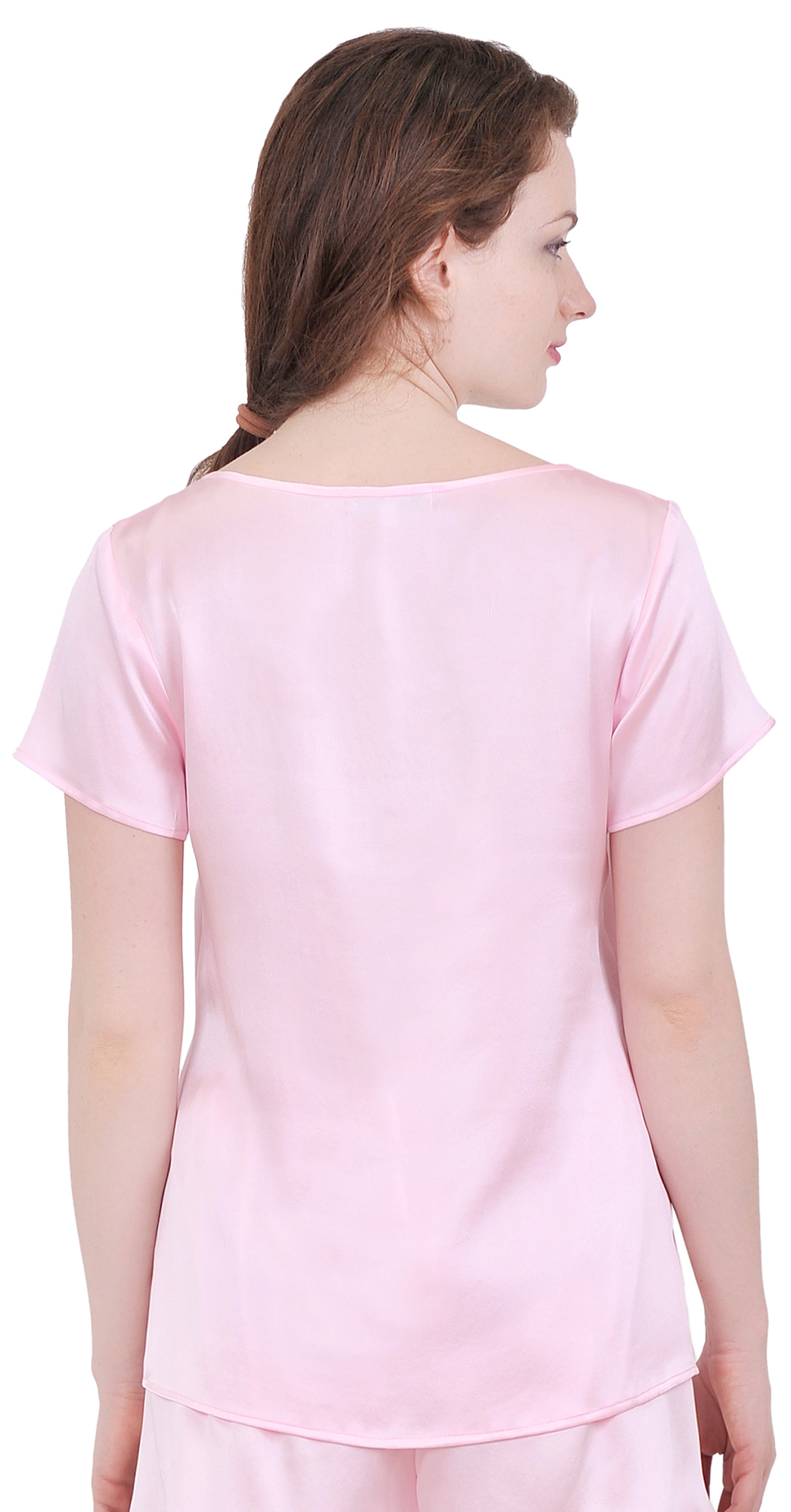 Womens pure silk tee t shirt blouse short sleeve suiting for Short t shirts ladies